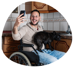 NDIS Participant with dog, disabled man with pet, jobs for disabled people, petcloud