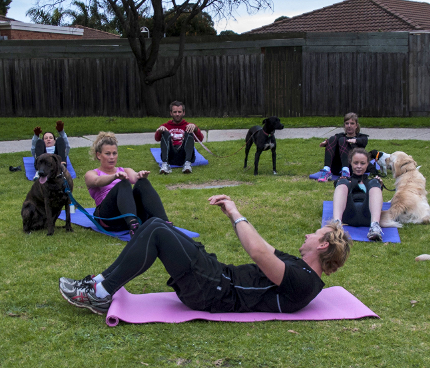 An outdoor Barxercise session - wonderful pet exercise