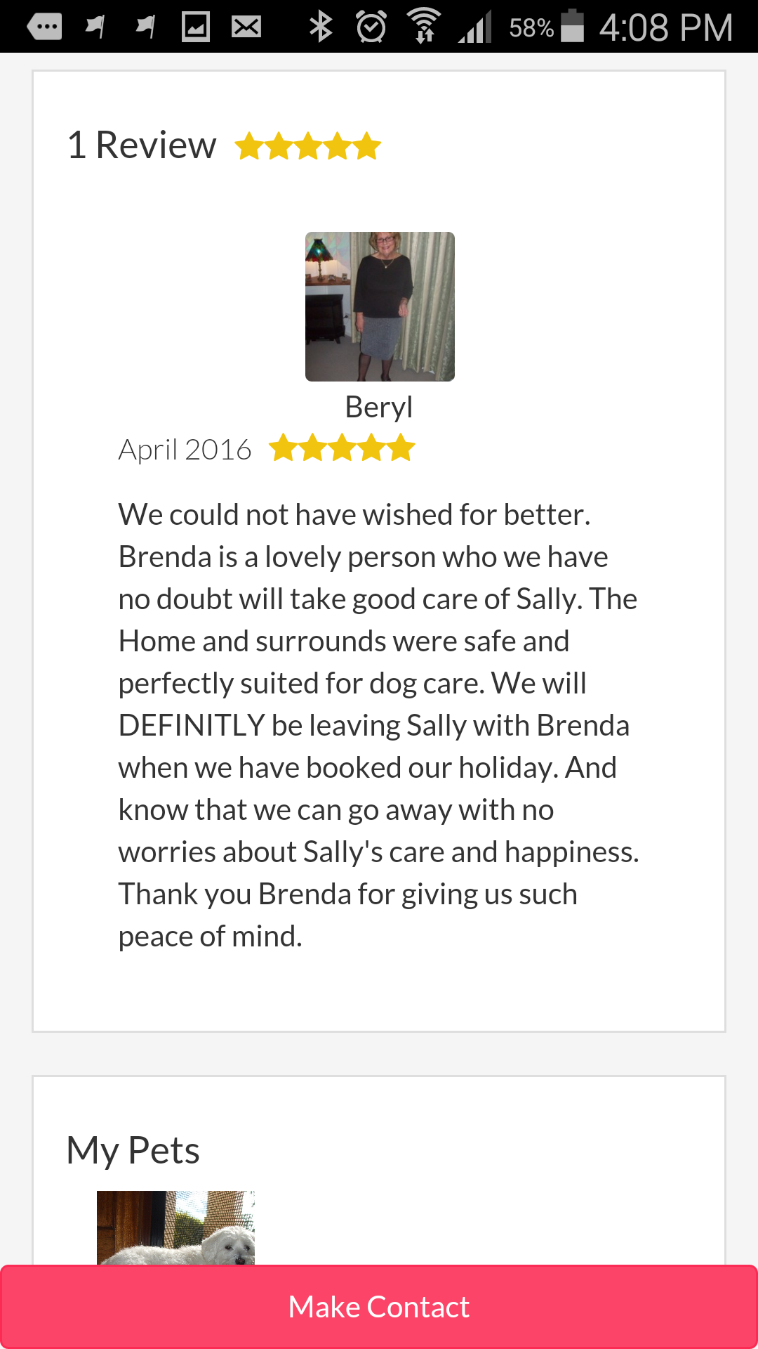 Another way that Brenda increased trust on her Pet Sitter