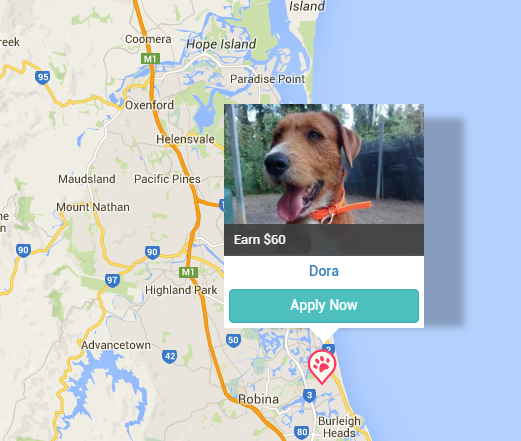 Example of Pet Sitter Jobs on PetCloud