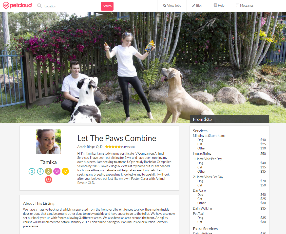 Awesome Examples of Pet Sitter Listings | Blog | PetCloud