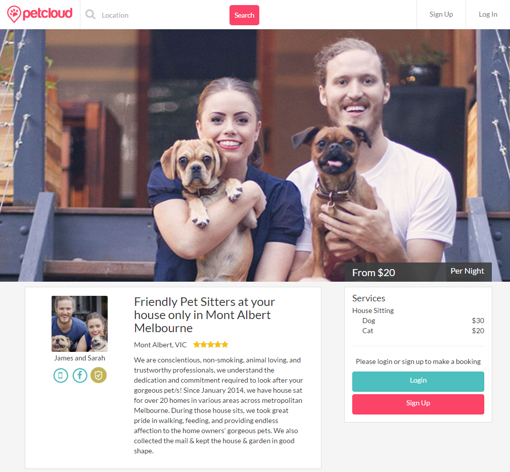 petcloud awesome pet sitter listings