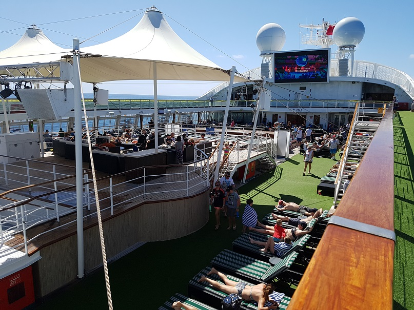 The 12th level of the ship where there are more spas, deck chairs, LED movie screen and bars