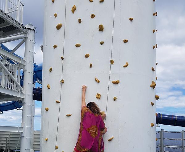 Rock Climbing up on deck
